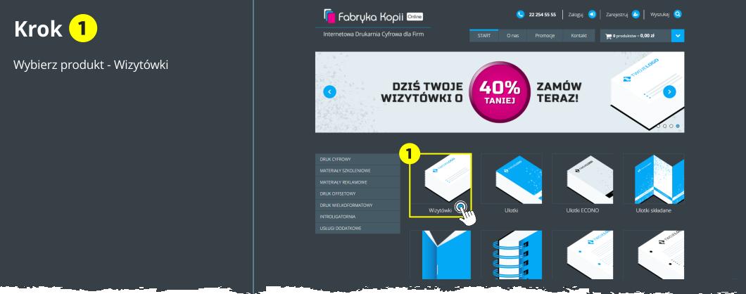 Drukuj wizytówki online - Krok 1 - Wybierz produkt