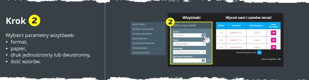 Drukuj wizytówki online - Krok 2 - Wybierz parametry druku wizytówek