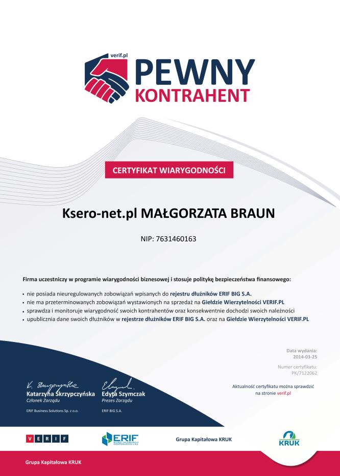 Certyfikat wiarygodności Pewny Kontrahent